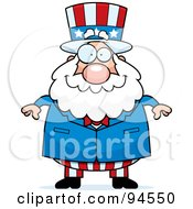 Royalty Free RF Clipart Illustration Of A Plump Uncle Sam Standing Forward