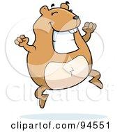 Plump Happy Hamster Jumping