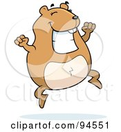 Royalty Free RF Clipart Illustration Of A Plump Happy Hamster Jumping