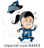 Royalty Free RF Clipart Illustration Of A Running Police Girl