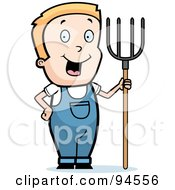 Royalty Free RF Clipart Illustration Of A Blond Farmer Boy With A Pitchfork