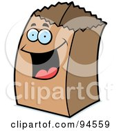 Royalty Free RF Clipart Illustration Of A Happy Paper Bag Face
