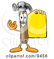 Hammer Mascot Cartoon Character Holding A Yellow Sales Price Tag