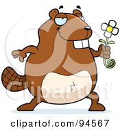 Royalty Free RF Clipart Illustration Of A Sweet Chubby Beaver Holding Out A Daisy Flower by Cory Thoman
