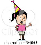 Royalty Free RF Clipart Illustration Of A Cute Birthday Girl Wearing A Hat And Holding Punch by Cory Thoman