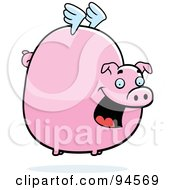 Royalty Free RF Clipart Illustration Of A Fat Flying Pig With Little White Wings by Cory Thoman