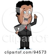 Royalty Free RF Clipart Illustration Of A Smart Black Businessman Expressing An Idea by Cory Thoman