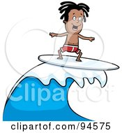 Royalty Free RF Clipart Illustration Of A Dark Skinned Surfer Dude Riding A Wave