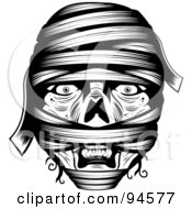 Royalty Free RF Clipart Illustration Of A Black And White Wrapped Mummy Face