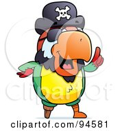 Royalty Free RF Clipart Illustration Of A Pirate Parrot Expressing An Idea by Cory Thoman
