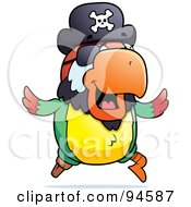 Royalty Free RF Clipart Illustration Of A Running Pirate Parrot by Cory Thoman