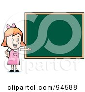 Royalty Free RF Clipart Illustration Of A White School Girl Presenting A Blank Chalkboard by Cory Thoman