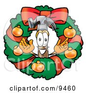Hammer Mascot Cartoon Character In The Center Of A Christmas Wreath