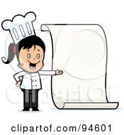 Royalty Free RF Clipart Illustration Of A Little Chef Girl Presenting A Blank Menu