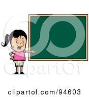 Royalty Free RF Clipart Illustration Of A Friendly School Girl Presenting A Chalk Board by Cory Thoman