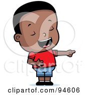 Royalty Free RF Clipart Illustration Of A Cute Little Black Boy Pointing And Laughing At Anothers Expense