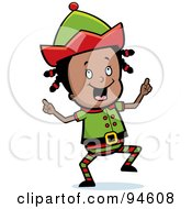 Royalty Free RF Clipart Illustration Of A Cute Little Black Girl Elf Dancing
