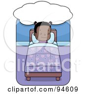 Royalty Free RF Clipart Illustration Of A Cute Little Black Girl Sleeping And Dreaming In Bed