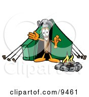 Clipart Picture Of A Hammer Mascot Cartoon Character Camping With A Tent And Fire