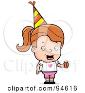Royalty Free RF Clipart Illustration Of A Little Dirty Blond Girl Holding Punch And Wearing A Party Hat by Cory Thoman
