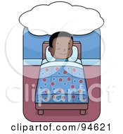 Royalty Free RF Clipart Illustration Of A Little Black Boy Dreaming And Sleeping In Bed