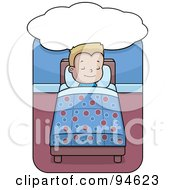 Royalty Free RF Clipart Illustration Of A Little Blond Boy Dreaming And Sleeping In Bed
