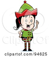 Royalty Free RF Clipart Illustration Of A Female Elf Girl Expressing An Idea