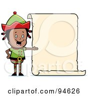 Royalty Free RF Clipart Illustration Of A Black Girl Elf Presenting A Blank List