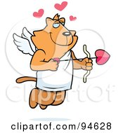 Royalty Free RF Clipart Illustration Of A Cupid Cat In Profile Shooting Heart Arrows