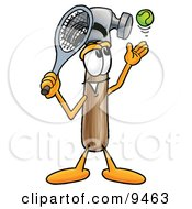Clipart Picture Of A Hammer Mascot Cartoon Character Preparing To Hit A Tennis Ball