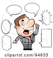 Royalty Free RF Clipart Illustration Of A Chatty Businessman With Different Talk Balloons by Cory Thoman
