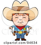 Royalty Free RF Clipart Illustration Of A Little Sheriff Boy Ready To Draw His Guns by Cory Thoman