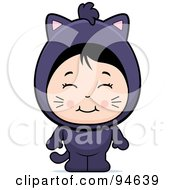 Royalty Free RF Clipart Illustration Of A Cute Asian Girl In A Cat Costume by Cory Thoman