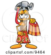 Hammer Mascot Cartoon Character In Orange And Red Snorkel Gear