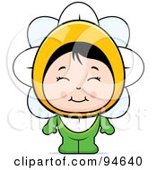 Royalty Free RF Clipart Illustration Of A Cute Asian Girl In A Flower Costume by Cory Thoman