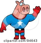 Super Hero Pig Waving by Cory Thoman
