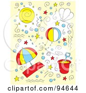 Royalty Free RF Clipart Illustration Of A Collage Of Doodled Summer And Beach Items by Cory Thoman