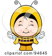 Royalty Free RF Clipart Illustration Of A Cute Asian Girl In A Bee Costume by Cory Thoman