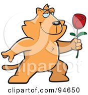 Royalty Free RF Clipart Illustration Of A Romantic Orange Cat Presenting A Rose