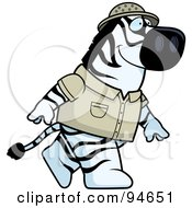 Royalty Free RF Clipart Illustration Of A Safari Zebra Walking On His Hind Legs by Cory Thoman