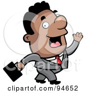 Royalty Free RF Clipart Illustration Of A Walking Black Businessman Waving While Passing by Cory Thoman