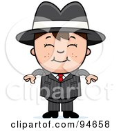 Royalty Free RF Clipart Illustration Of A Little Mafia Boy In A Suit by Cory Thoman