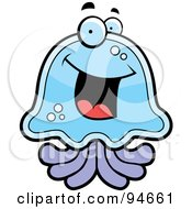 Royalty Free RF Clipart Illustration Of A Happy Blue And Purple Jellyfish Face by Cory Thoman