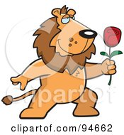 Royalty Free RF Clipart Illustration Of A Romantic Lion Presenting A Red Rose