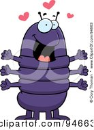 Royalty Free RF Clipart Illustration Of An Amorous Centipede With Hearts by Cory Thoman