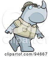 Royalty Free RF Clipart Illustration Of A Safari Rhino Walking On His Hind Legs