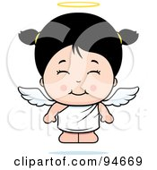 Royalty Free RF Clipart Illustration Of A Cute Asian Angel Girl
