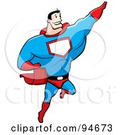 Royalty Free RF Clipart Illustration Of A Strong Super Hero Guy Flying by Cory Thoman