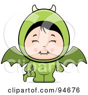 Royalty Free RF Clipart Illustration Of A Cute Asian Girl In A Dragon Costume by Cory Thoman