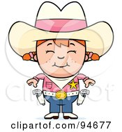 Royalty Free RF Clipart Illustration Of A Cute Cowgirl In Pink Ready To Draw Her Guns by Cory Thoman
